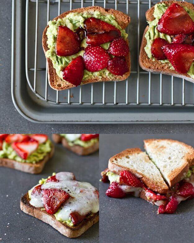 苺とアボカドのサンドイッチ