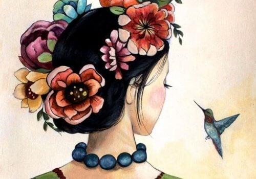 大人の女性と鳥