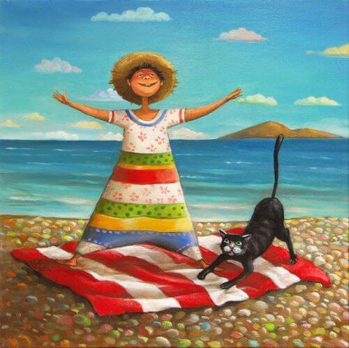 猫とビーチ