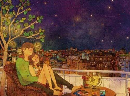 星を眺めるカップル