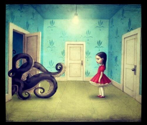 Girl-looking-at-octupus-represents-bad-people