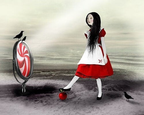 リンゴを踏む少女