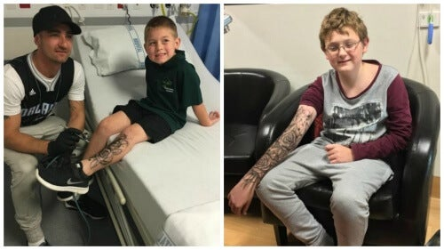 病気の子どもにタトゥーで勇気を与えた男