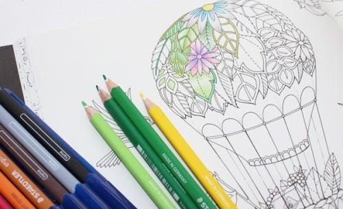 大人の塗り絵気球