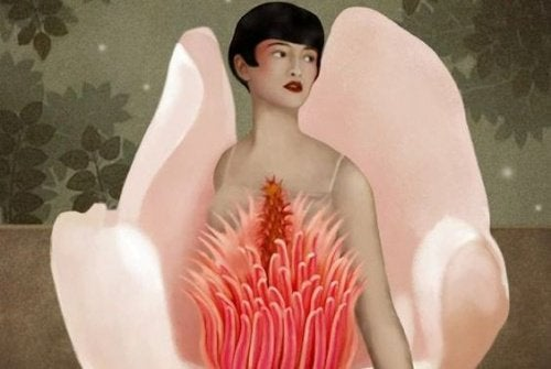 女性と花の絵