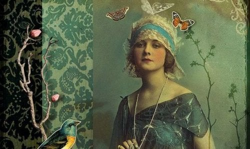 女性と蝶々の絵