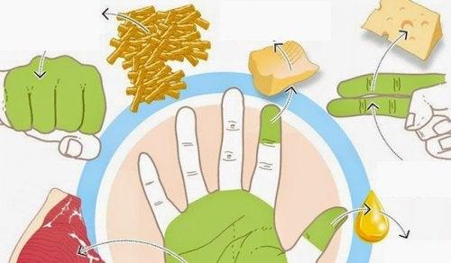 ハンドダイエット:手で正しい食事量を計る方法