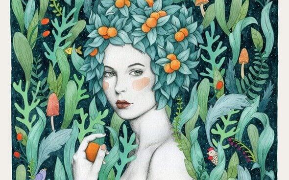 mujer-con-frutas-en-la-cabeza