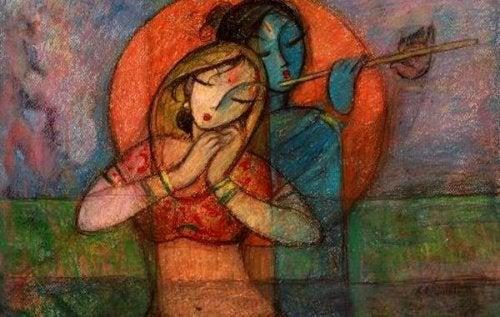 笛を吹く女性の絵