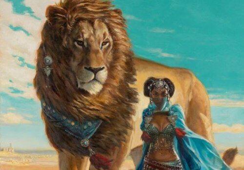女性とライオン