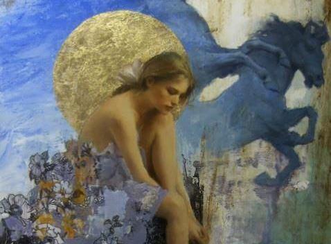 月と女性の絵