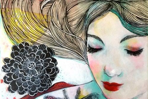 花と女性の絵