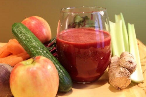 Vegetables and juice