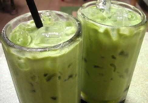 Two glasses of avocado smoothie