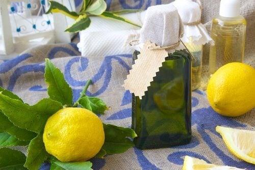 Lemon juice in bottles