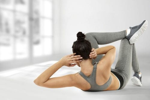 Woman working on abs