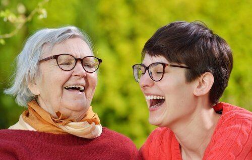 Laughing grandma and woman