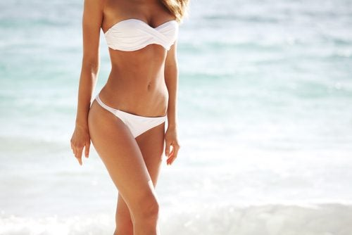 Woman in white bikini