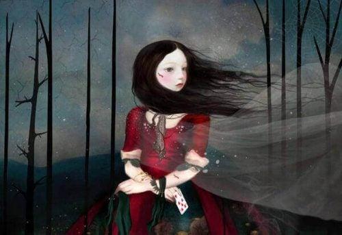 Dark girl in woods