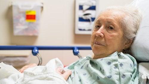 grandma lying on bed