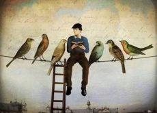 Man sitting with birds