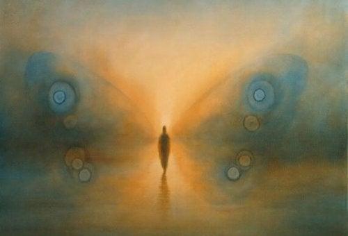 人と蝶々の羽