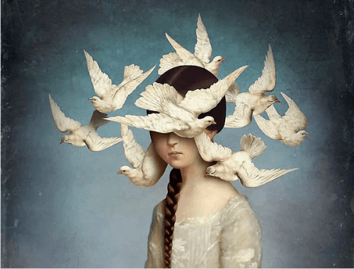 鳩に囲まれた少女