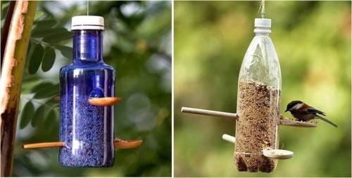 ペットボトルの鳥のえさ箱