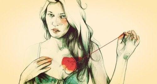 心の糸を繕う女性