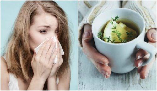 咳の症状を和らげるタイム、レモン、ハチミツ茶