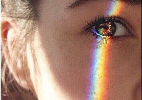 目のアップ、虹