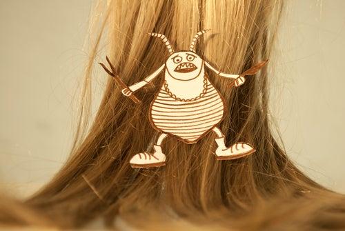 髪にシラミのイラスト