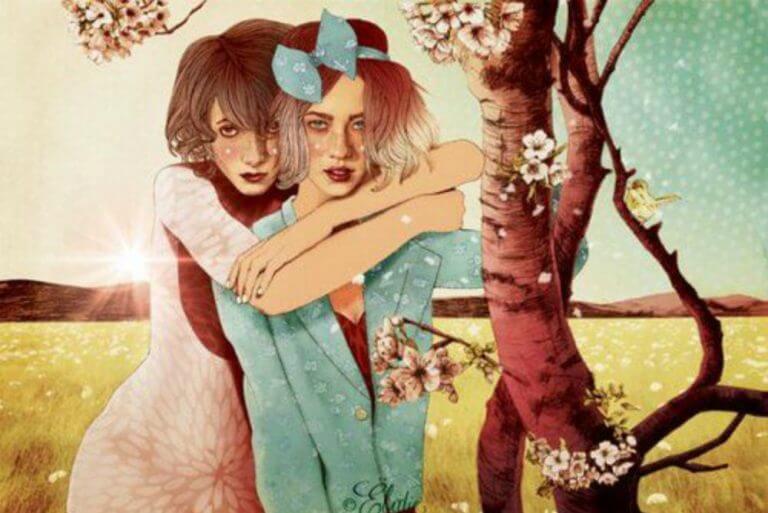 こちらを挑戦的に見る二人の女性のイラスト