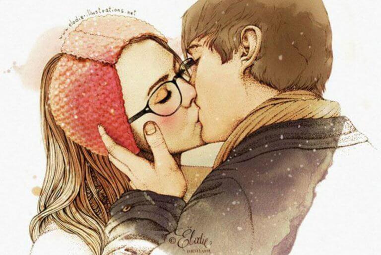 キスする二人のイラスト