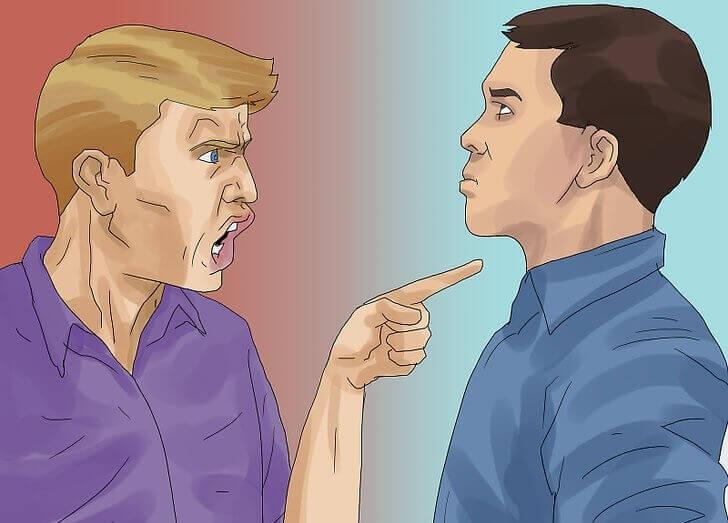 批判、注意を受ける男性