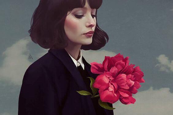 花をつけた女性