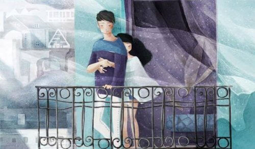 バルコニーにいるカップルのイラスト