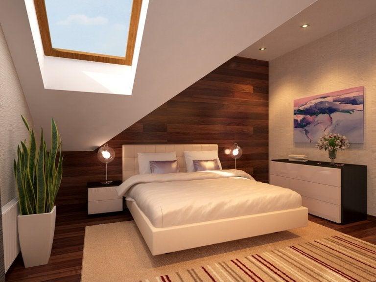 植物の置かれた寝室
