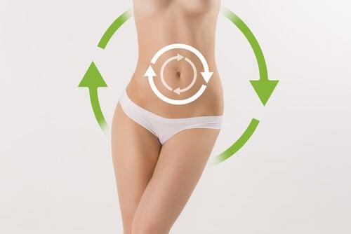女性の腹部に円状に矢印