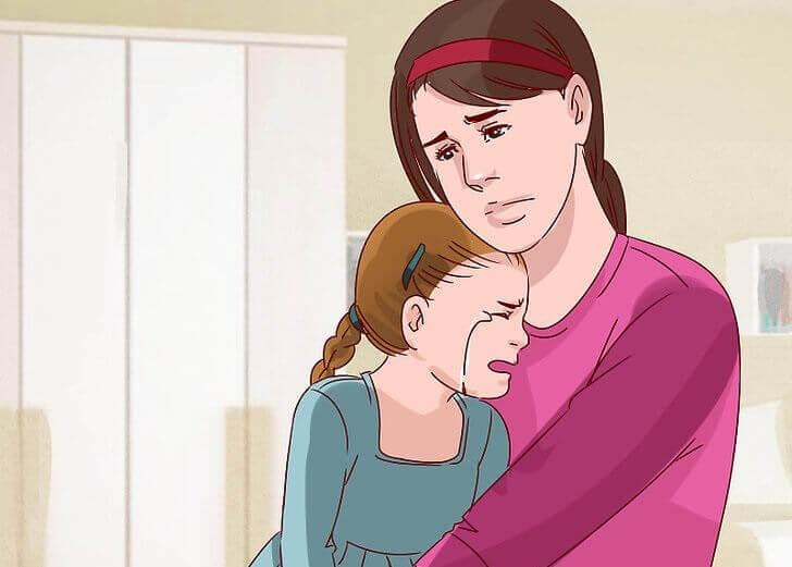 母親と泣いている子供