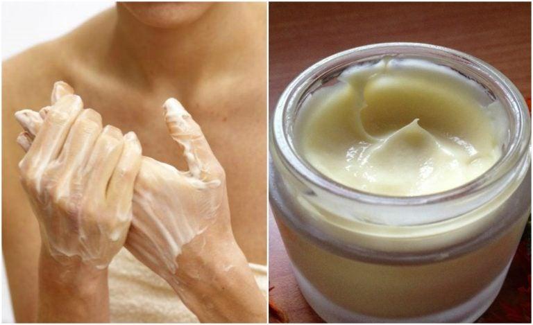 手にクリームを塗る女性