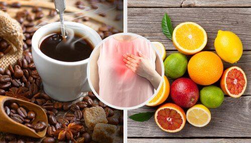 コーヒー、胸やけ、柑橘類