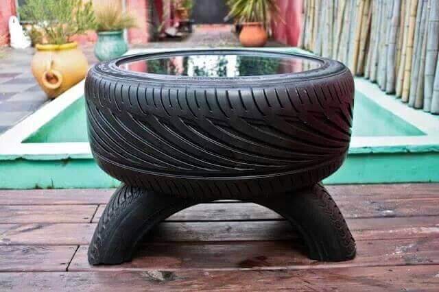 コーヒーテーブル 古いタイヤ