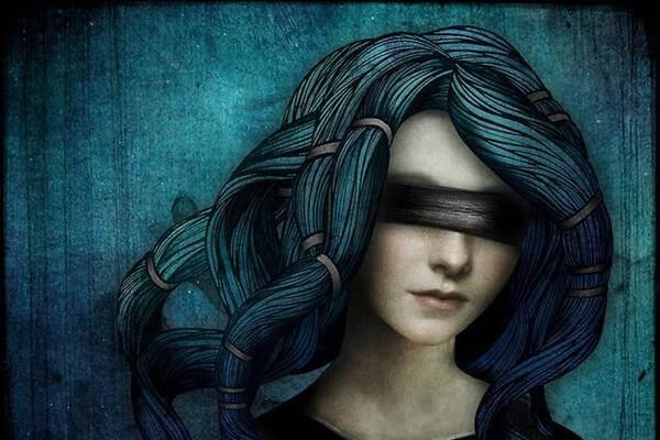 目隠しの女性 人生は私達を導いてくれる