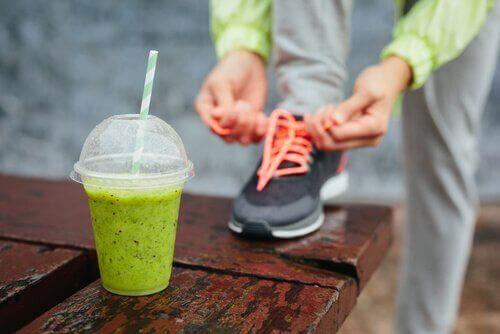 ジョギング前のタンパク質補給