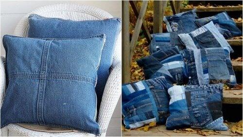 枕 古いジーンズの再利用