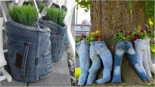 植木鉢 古いジーンズの再利用