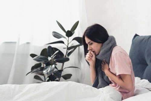 インフルエンザを発症している女性