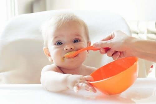 健康的な離乳食をつくるためのアドバイス 離乳食を食べる赤ちゃん
