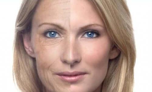女性の顔とシワ